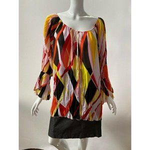 Milano Womens Tunic Top Multicolor Abstract Long S
